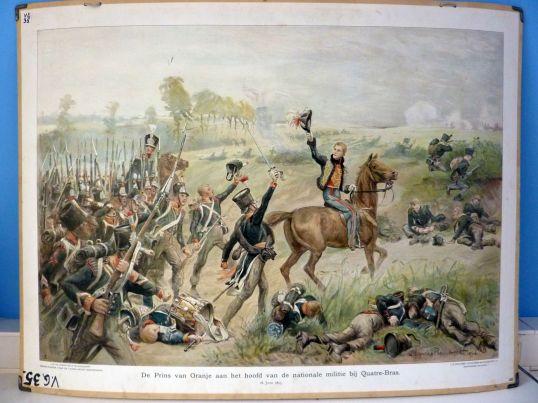 De-Prins-van-Oranje-aan-het-hoofd-van-de-nationale-militie-bij-Quatre-Bras-1815