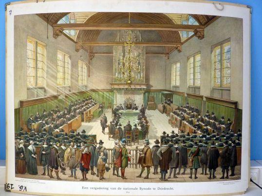 Een-vergadering-van-de-Nationale-synode-van-Dordrecht-1619