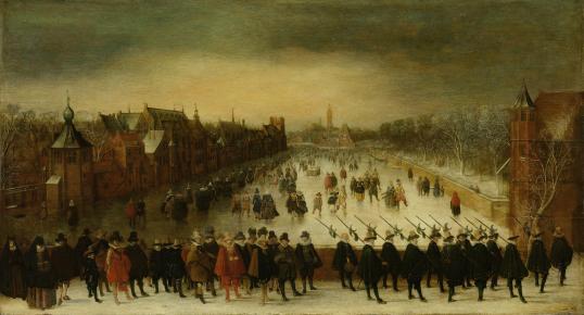 Wintergezicht_op_de_Vijverberg_te_Den_Haag_met_op_de_voorgrond_prins_Maurits_en_zijn_gevolg_Rijksmuseum_SK-A-955