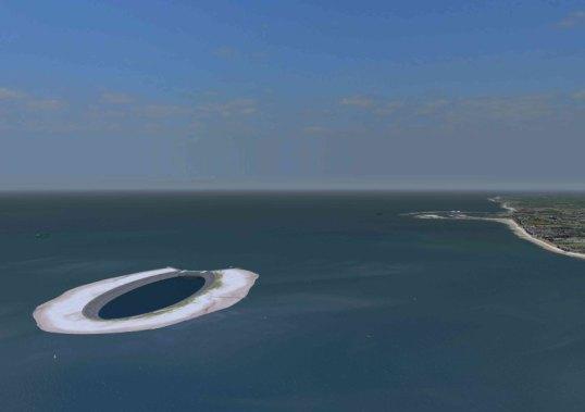 Die Energie-Insel aus der Luft.